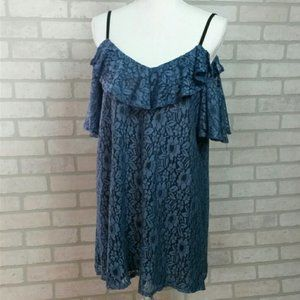June & Hudson Lg Lace Off the Shoulder Blouse Blue